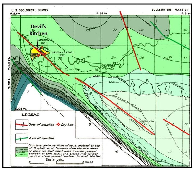 Shell Dome Area Cretaceous Cloverly structure map, Big Horn County, Wyoming