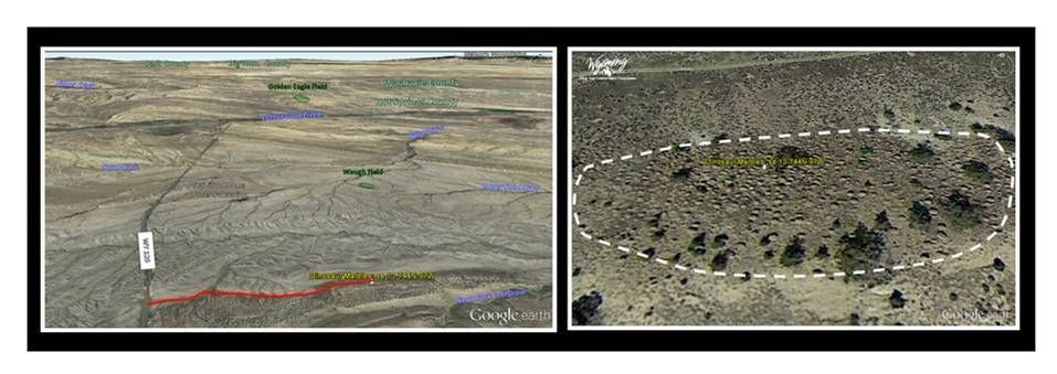 Aerial view of Dinosaur Marbles site, Hot Springs County, Wyoming