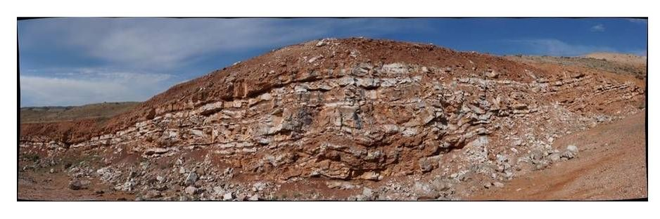 Picture gypsum mine, Gypsum Spring Fm., Sheep Mountain, Wyoming