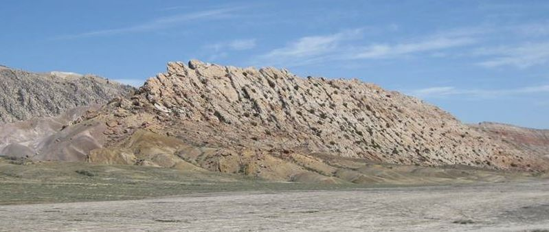 Picture Cretaceous Greybull river channel sandstone, Sheep Mountain Anticline, Wyoming