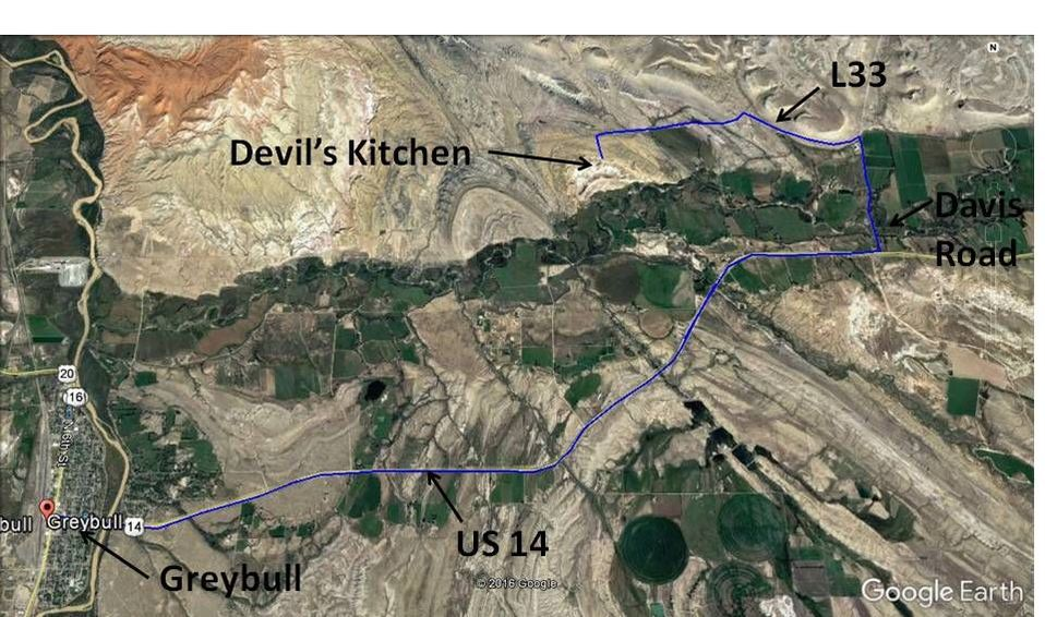 Google Earth directions map Greybull to Devil's Kitchen, annotated, Big Horn County, Wyoming