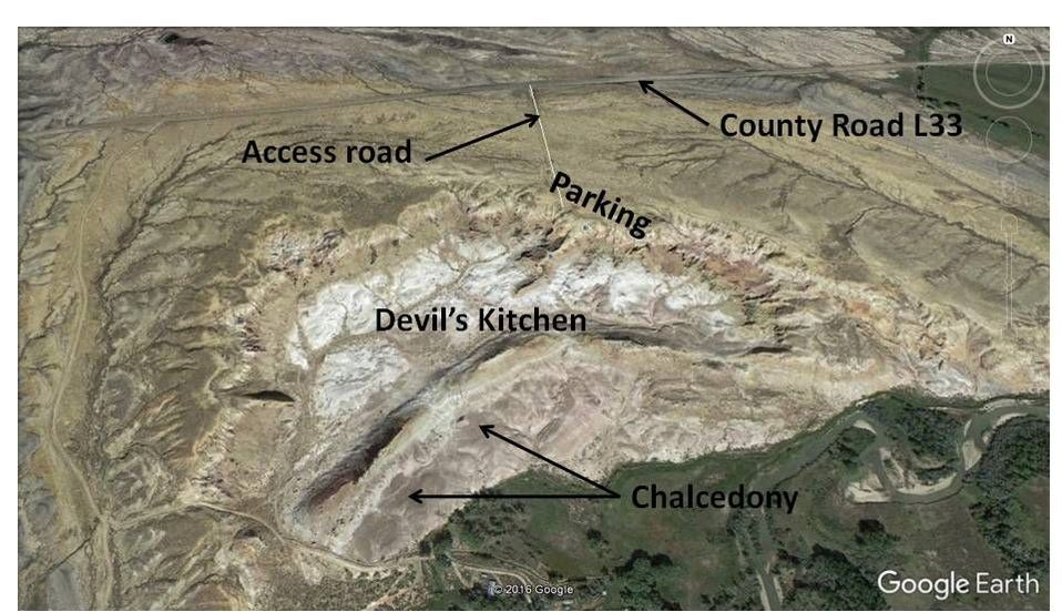 Google Earth image Devil's Kitchen, annotated, Big Horn County, Wyoming