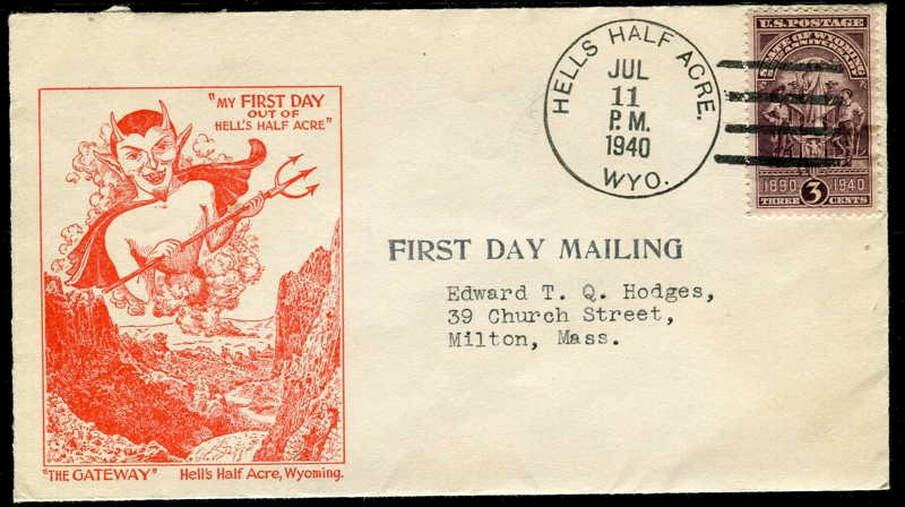 First day mailing envelope, May 1940 from Hells Half Acre, Natrona County, Wyoming