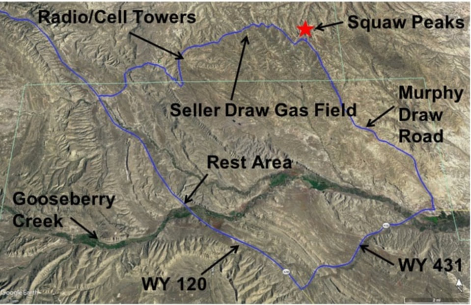 Map of drive to Squaw Peaks and Seller Draw Gas Field, Wyoming