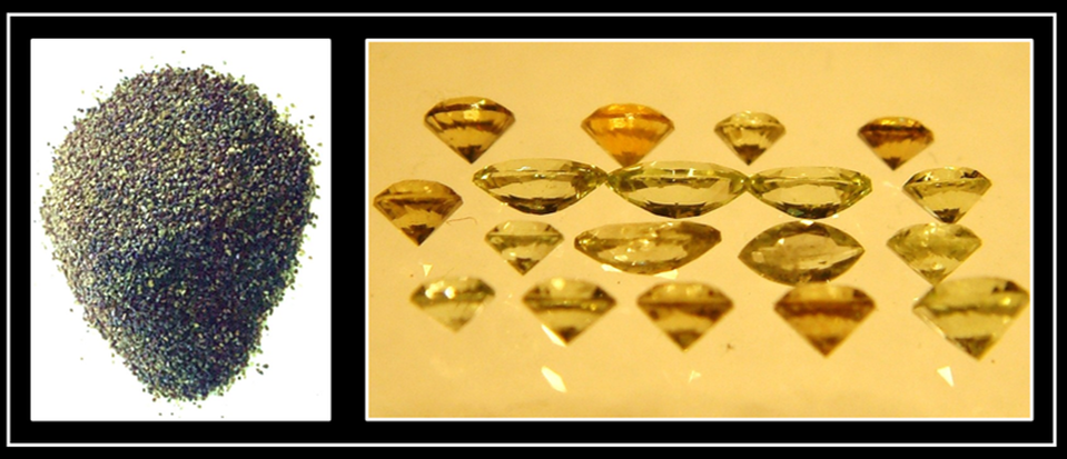 Pictures of raw and faceted peridot from Leucite Hills, Wyoming