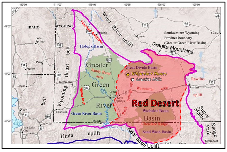 Map of Greater Green River Basin