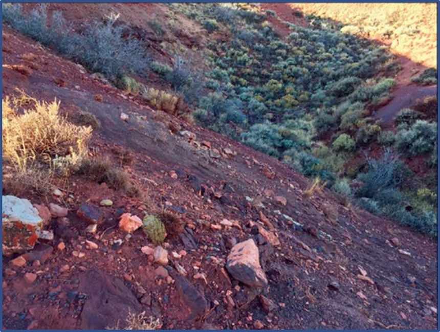 Picture of Rawlins Red iron ore outcrop, Carbon County, Wyoming