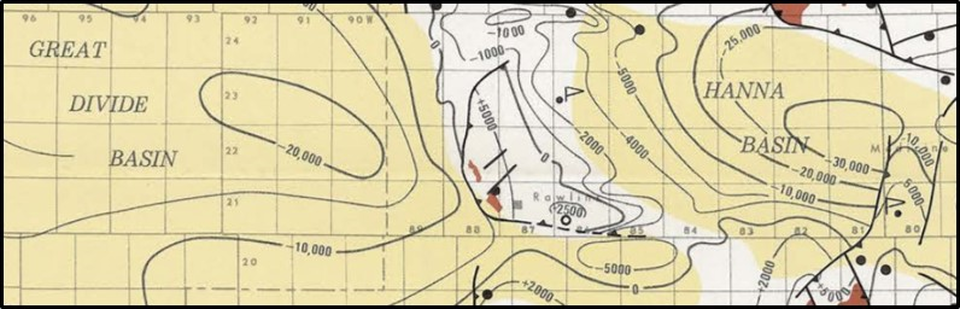 Geologic basement structure map of Rawlins Uplift, Hanna Basin and Great Divide Basin, Wyoming