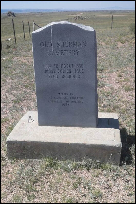 Picture of cemetery marker stone at Sherman, Wyoming