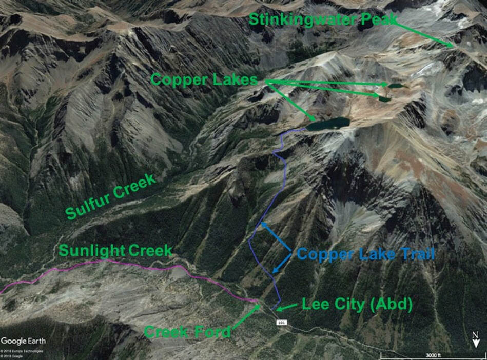 Map of hike to Copper Lakes, Sunlight Basin, Wyoming
