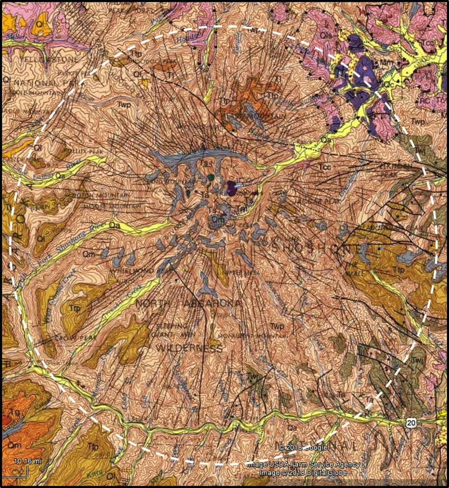 Geologic map of Sunlight and Stinkingwater Peak volcanic complex, Park County, Wyoming