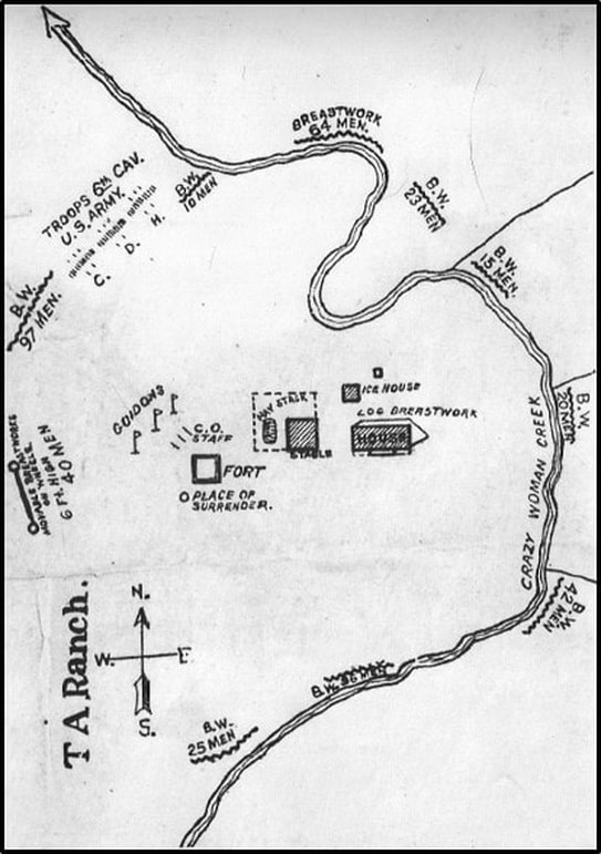 Map of TA Ranch 6th Calvary deployment, Johnson County, Wyoming