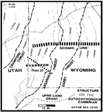 Index map to seismic line over Absaroka and Darby Thrust, Wyoming