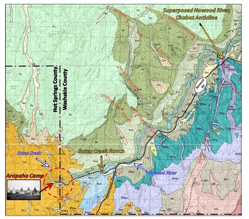 Geologic map southeast Bighorn Basin and Upper Nowood Road Area