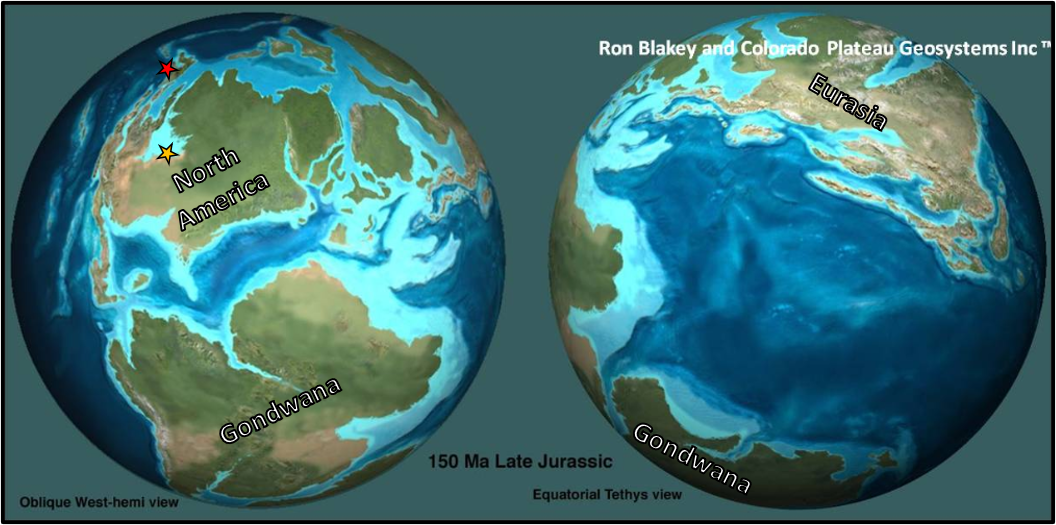 Late Jurassic globe showing occurrence of Megalneusaurus in Sundance in Wyoming and in the Naknek Formation in Alaska