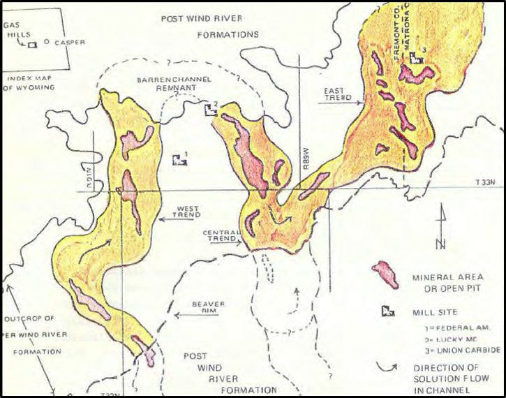 Geologic map Gas Hills fluvial channels and uranium roll front deposits, Wyoming