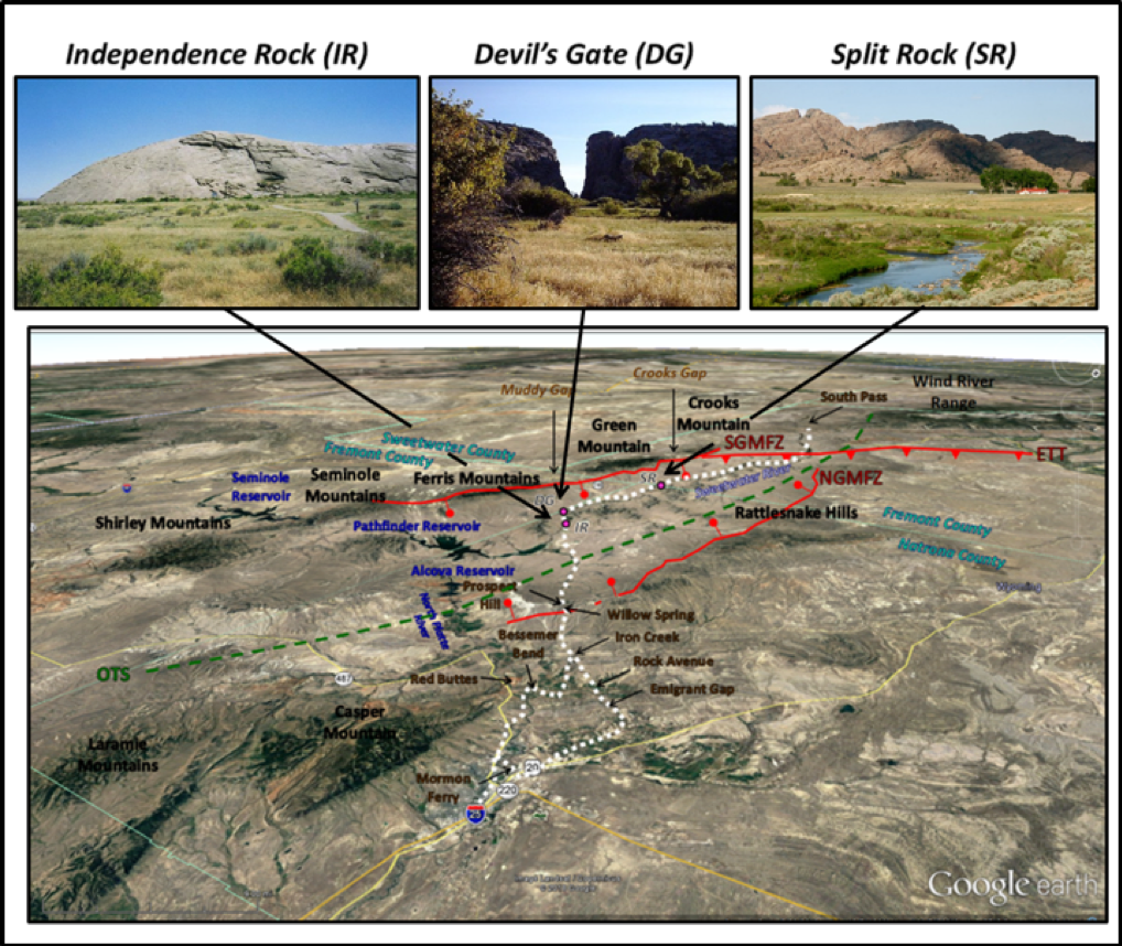 Pictures and map of Independence Rock, Devil's Gate, Split Rock and Immigrant Trail, Wyoming