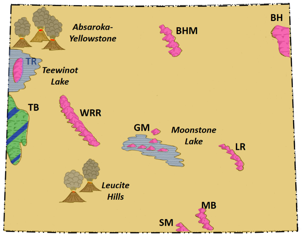 Geology map of Wyoming Miocene topography
