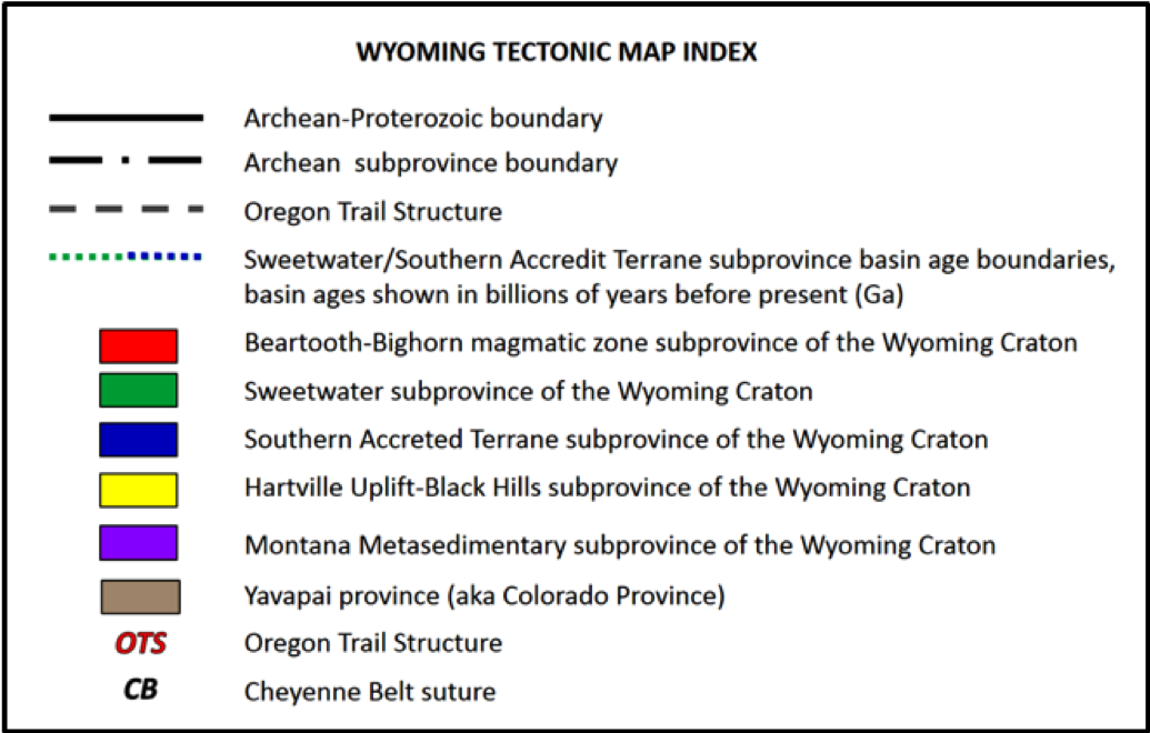Index to Wyoming Craton Tectonic Map