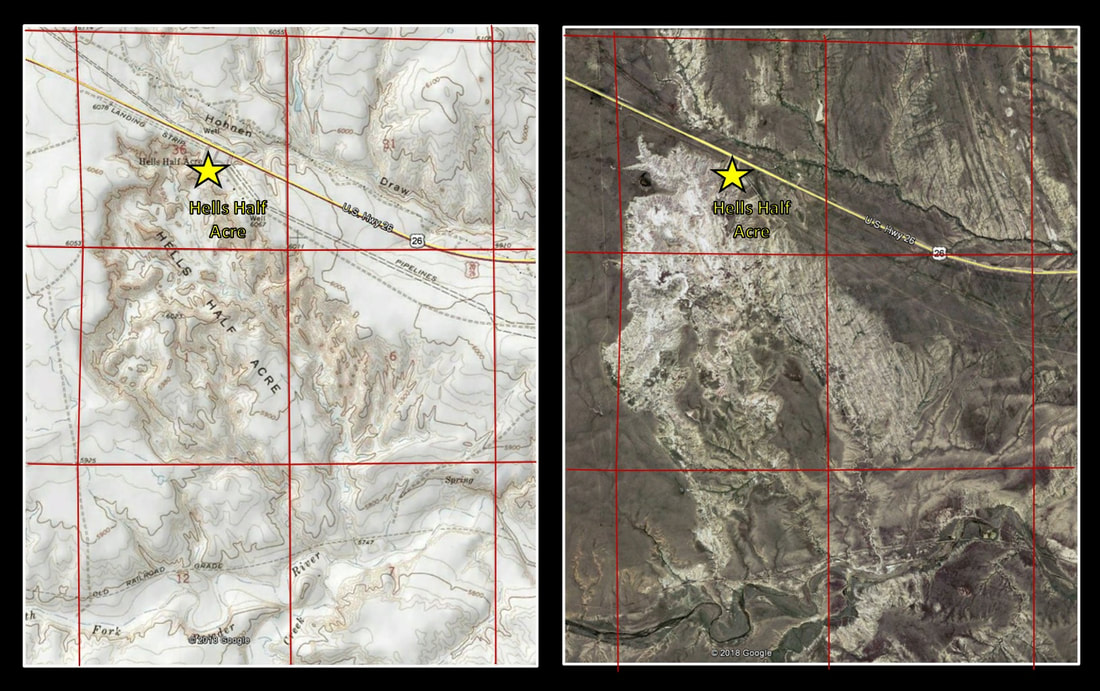 Topographic map and aerial picture of Hells Half Acre, Natrona County, Wyoming