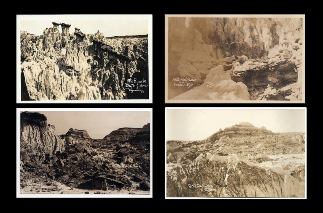 1920s vintage postcards of Hells Half Acre, Natrona County, Wyoming