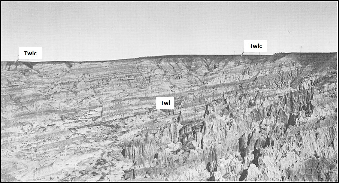 Picture of badlands in Eocene Lysite Member of Wind River Formation at Hells Half Acre, Natrona County, Wyoming