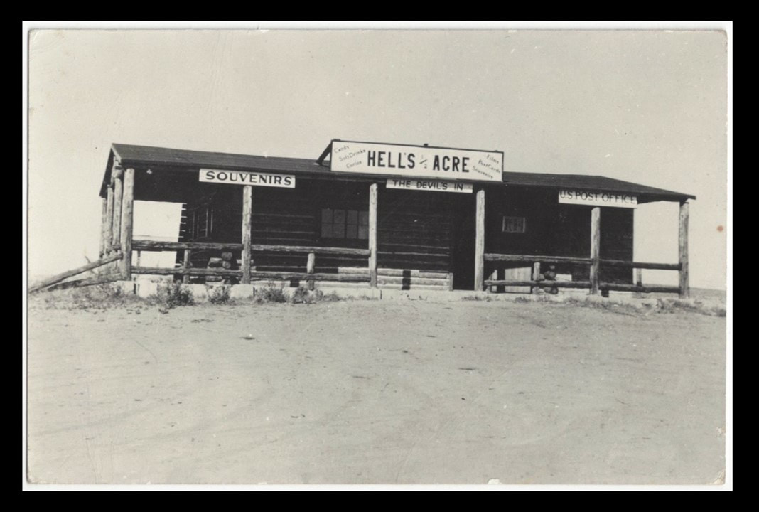 1947 picture of Post Office and store at Hells Half Acre, Natrona County, Wyoming