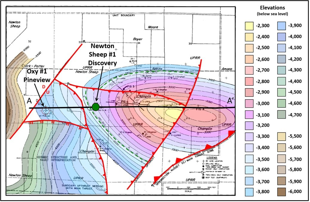 Pineview Oil Field geologic structure map on Nugget Sandstone, Utah