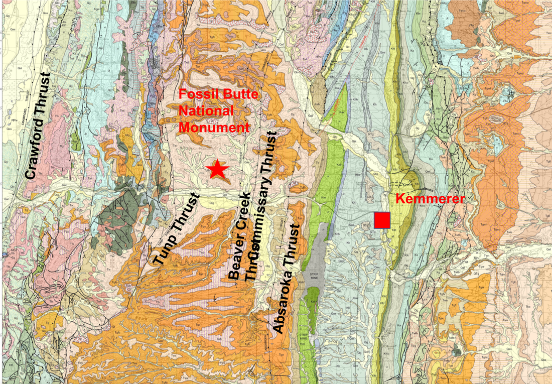 Kemmerer Wyoming Map.Fossil Butte Geology Of Wyoming