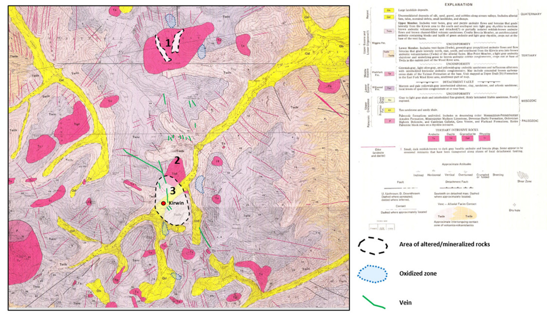 Geologic map of Kirwin area, Park County, Wyoming