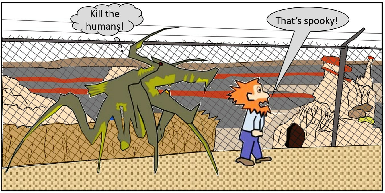 Cartoon of hostile Arachnids at Hells Half Acre, Natrona County, Wyoming
