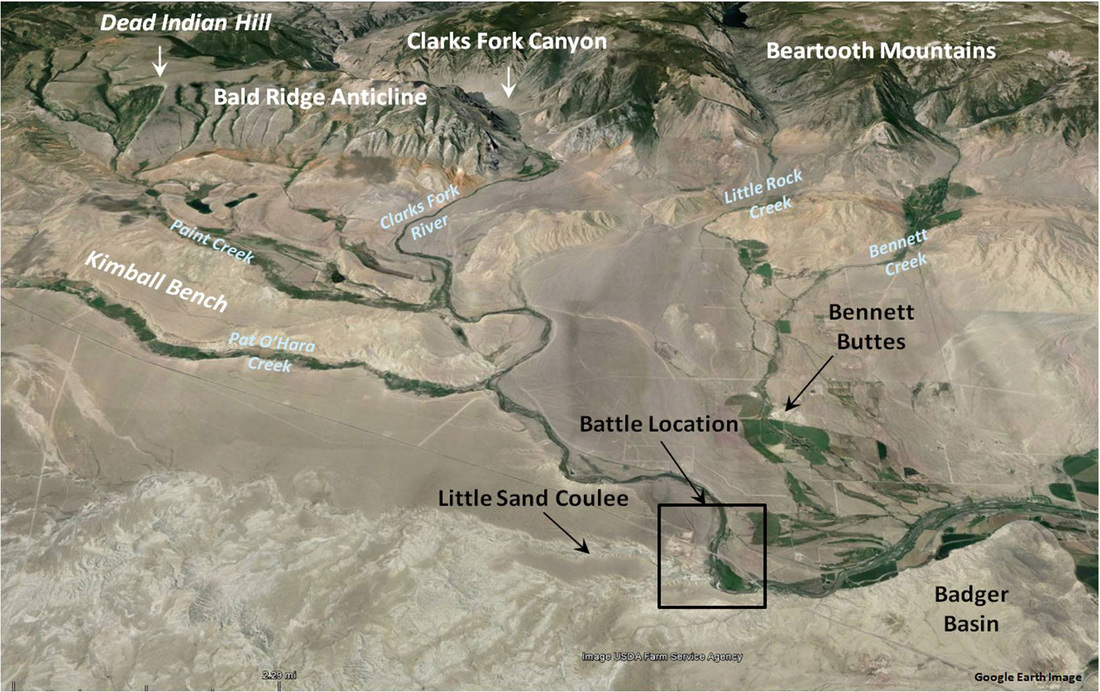 Google earth image Bennett Buttes Battle of 1878, Park County, Wyoming