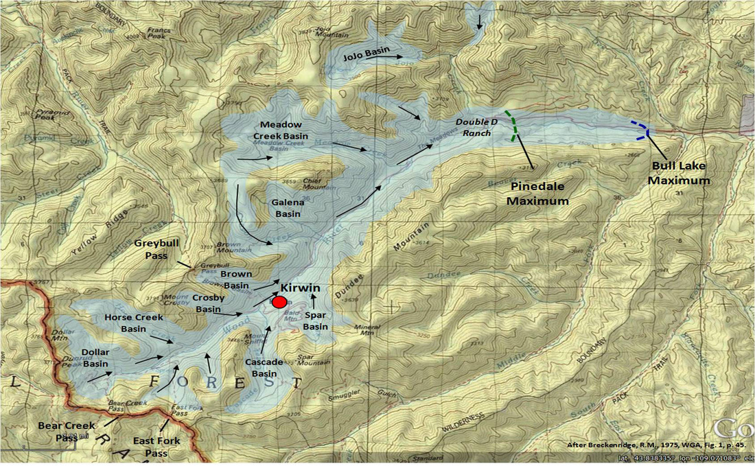 Map of glaciation in Kirwin area, Park County, Wyoming