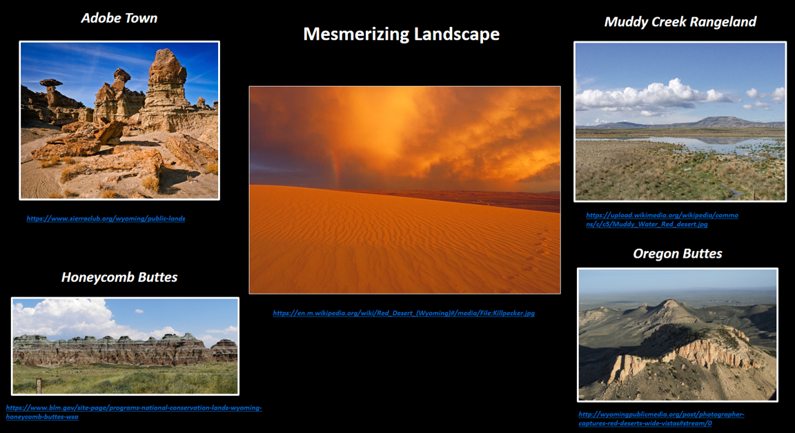 Pictures of landscape in Red Desert, Sweetwater County, Wyoming
