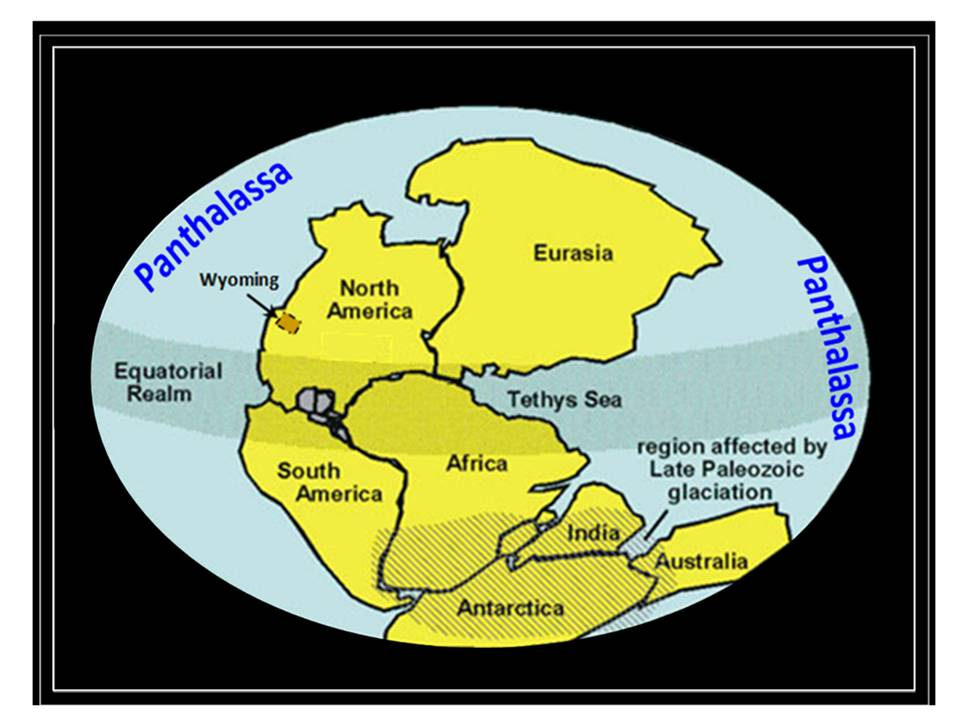 Map supercontinent Pangea and superocean Panthalassa
