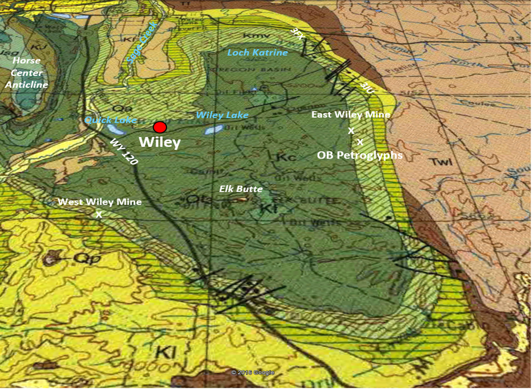 Geologic surface map Oregon Basin Oil Field, Park County, Wyoming