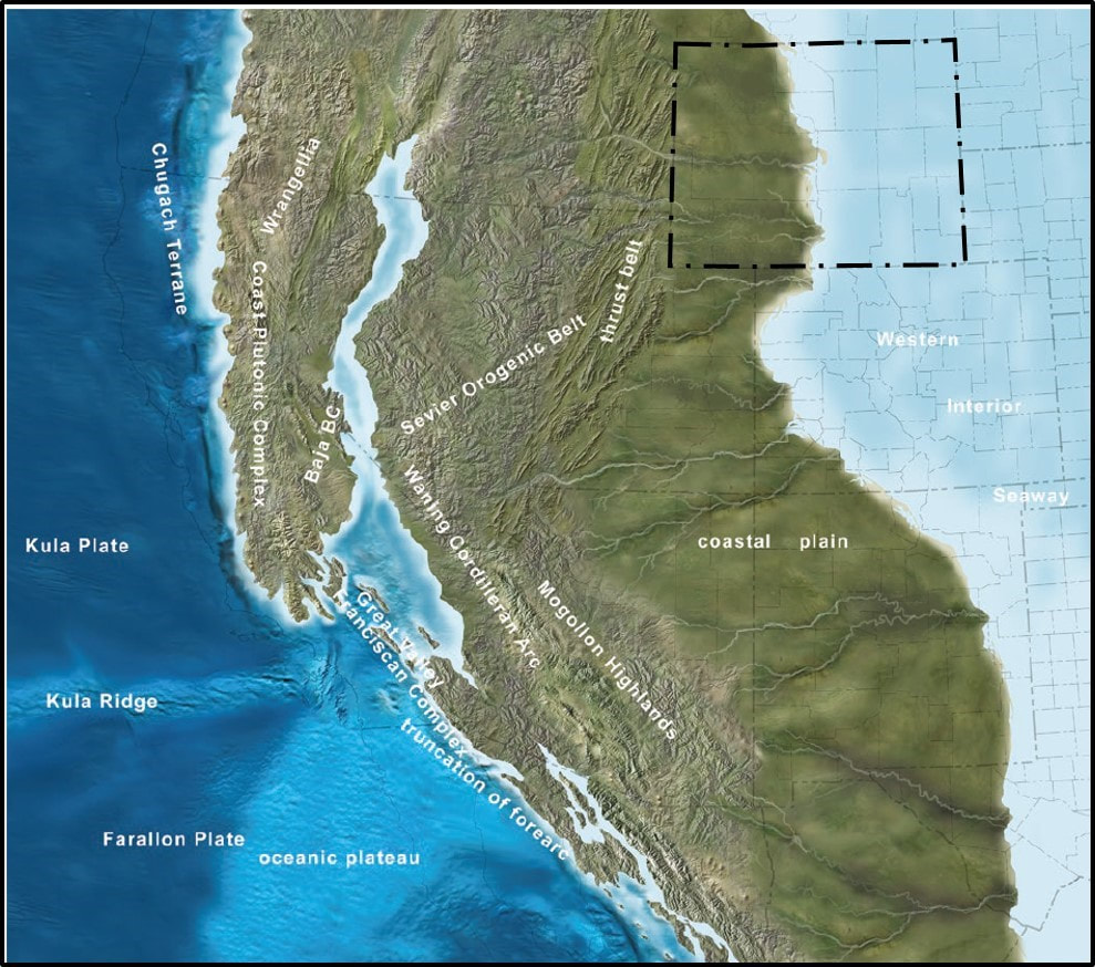 Paleogeographic map of southwestern North America 80 million years ago during Cretaceous Period