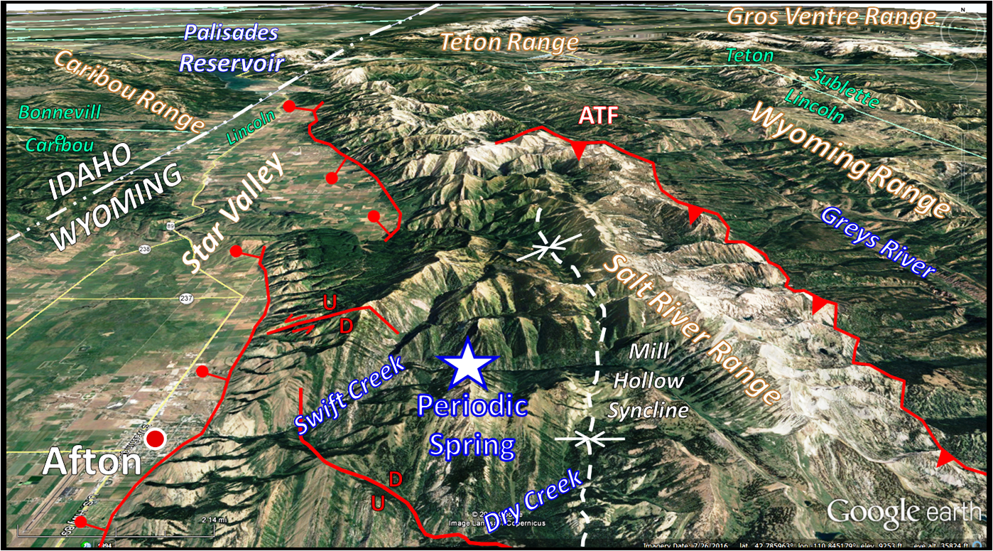 Google Earth image Star Valley, Salt River Range and Periodic Spring, annotated geology, Lincoln County, Wyoming