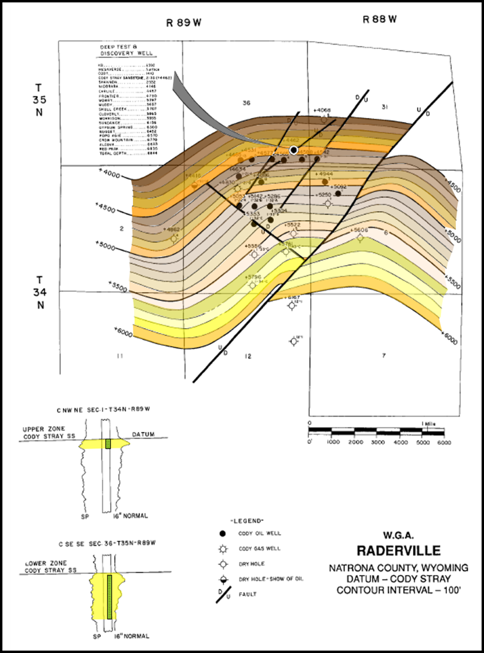 Structural geology map of Cody Stray Sandstone at Raderville Oil Field, Natrona County, Wyoming