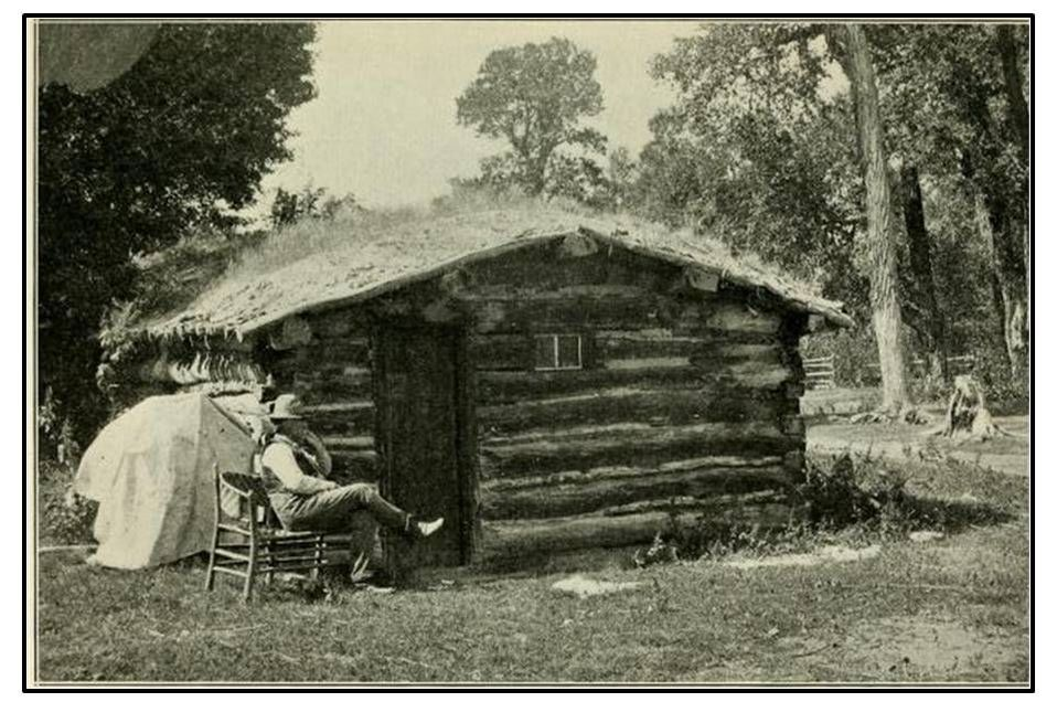 Picture of J.D. Woodruff in front of Owl Creek Cabin, Hot Springs County, Wyoming
