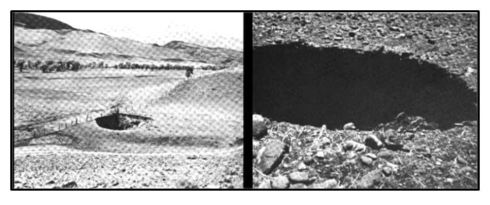 Pictures of sinkholes at Anchor Dam, Hot Springs County, Wyoming