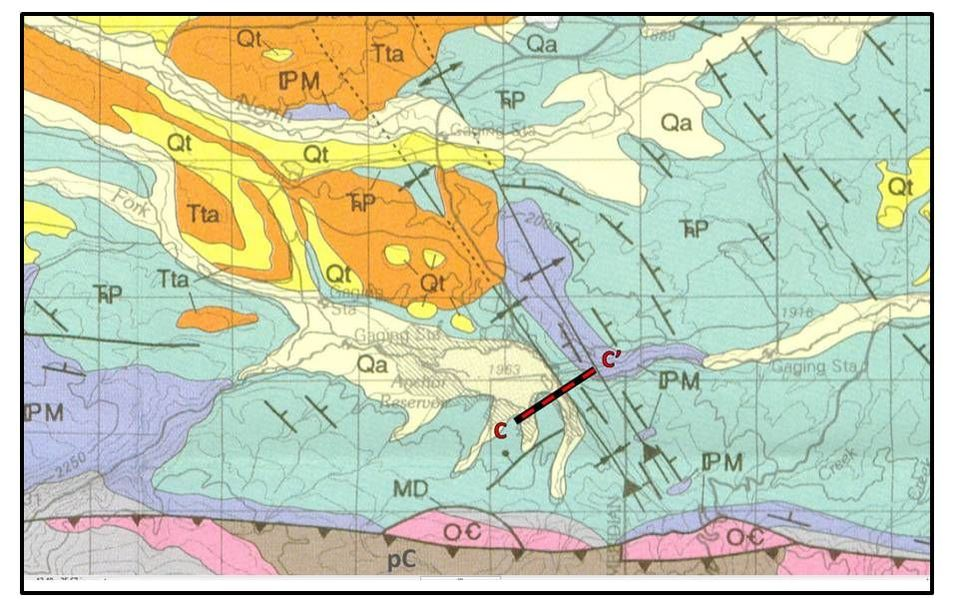 Geologic map of Anchor Dam area, Hot Springs County, Wyoming