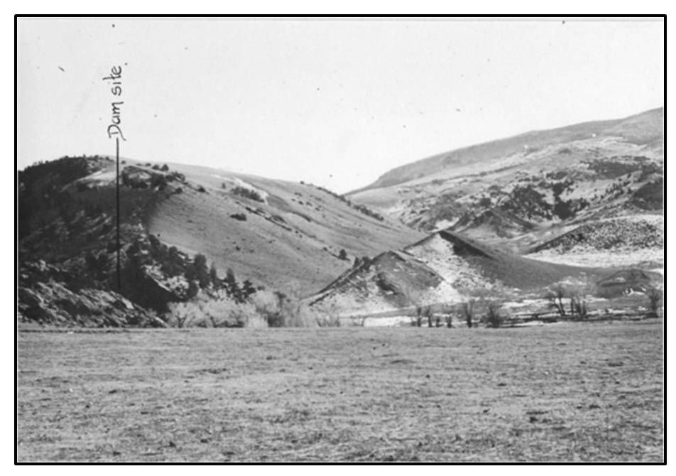 Picture Anchor Dam location southeast view, 1935, Hot Springs County, Wyoming