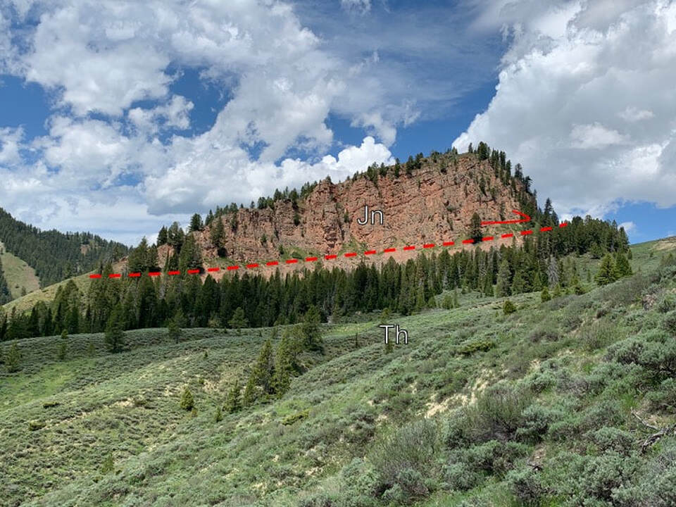 Picture of Battle Mountain with Jurassic Nugget thrusted over Tertiary Hoback Formation, Hoback Canyon, Wyoming