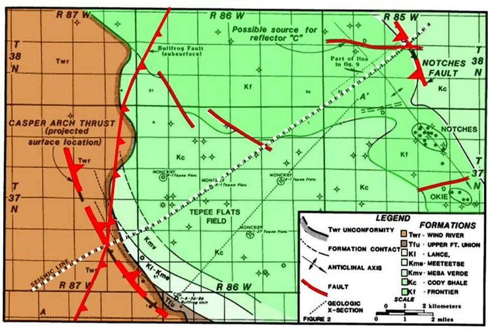 Geologic map of west edge of Casper Arch at Tepee Flats Field, Natrona County, Wyoming