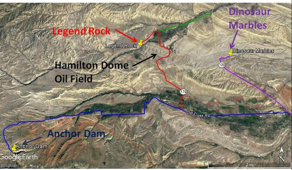 Route map to Anchor Dam, Legend Rock State Petroglyph Site, and Dinosaur Marbles,  Hot Springs County, Wyoming