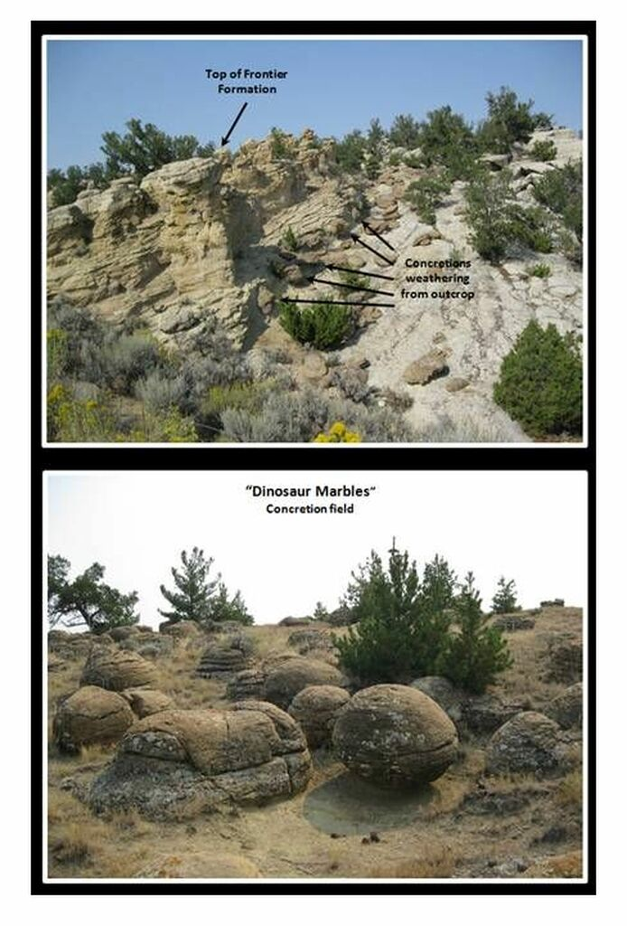 Pictures Dinosaur Marbles concretion field, Hot Springs County, Wyoming