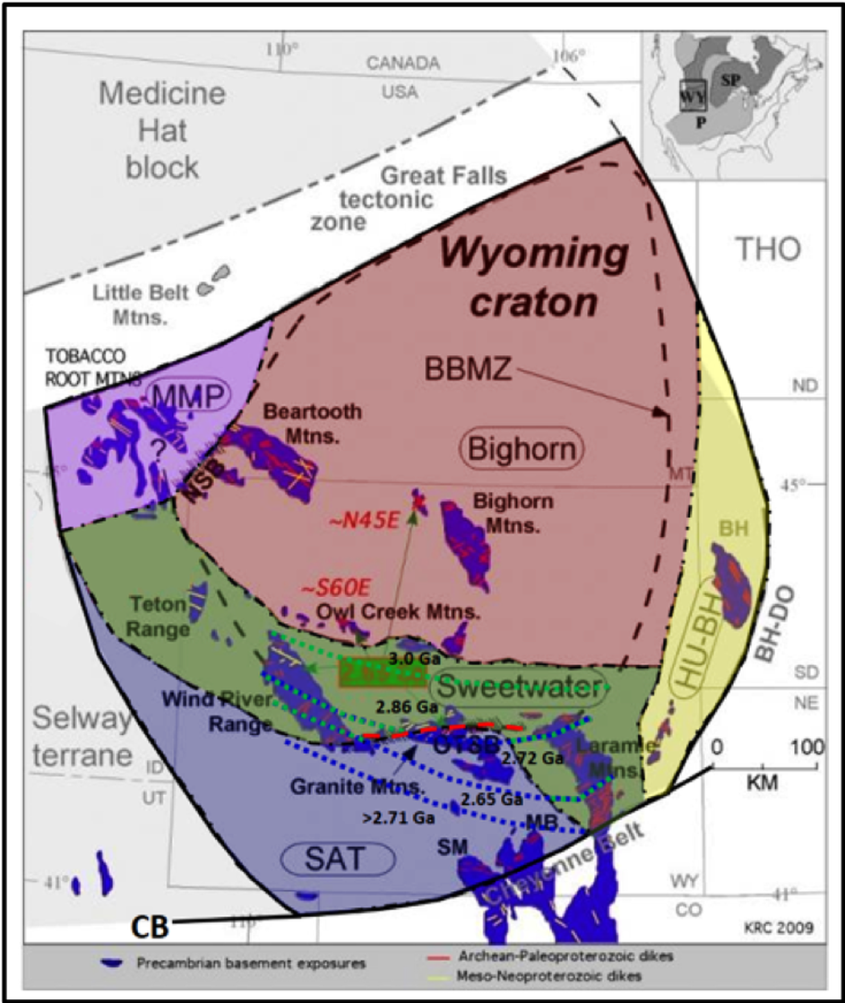 Map of Wyoming Precambrian Craton Subprovinces and tectonics
