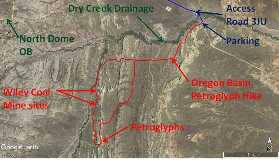 Map to Oregon Basin Petroglyphs, Park County, Wyoming