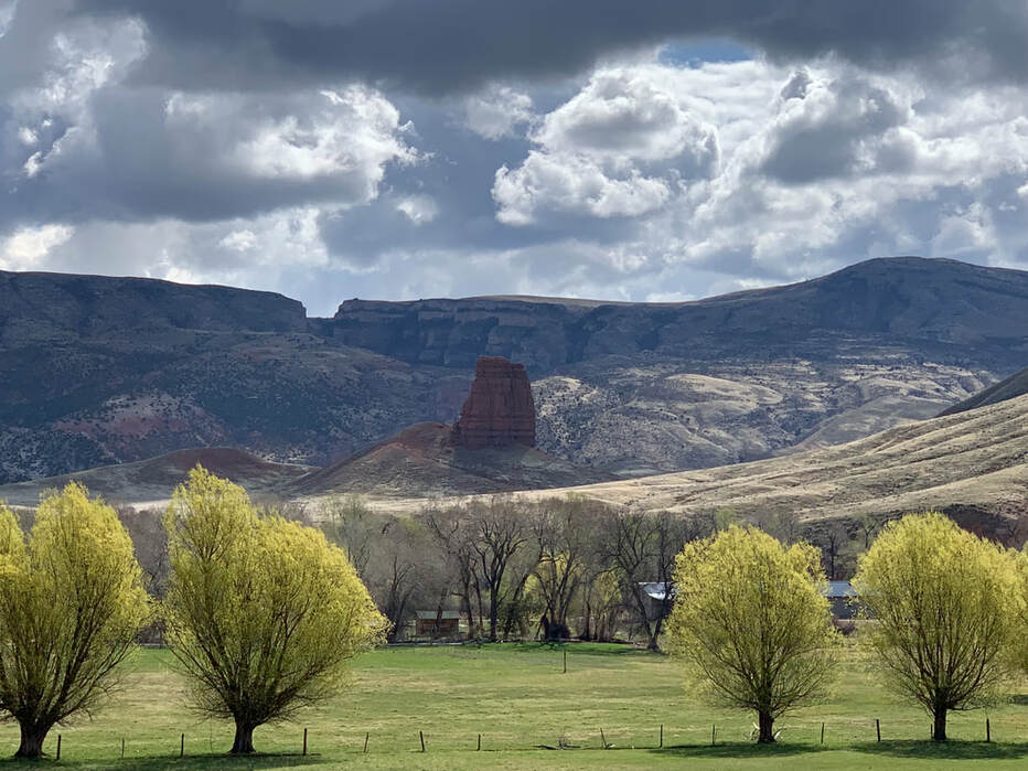 Picture Chimney Rock, Sunlight Mesa and Rattlesnake Hills, Big Horn County, Wyoming